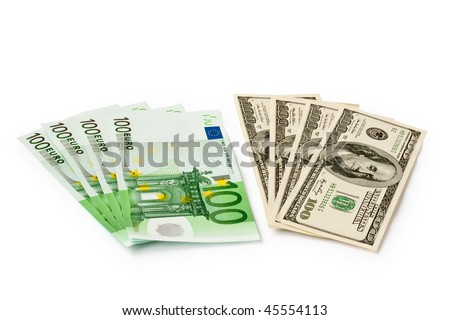 money concept. dollars and euro isolated on white - stock photo