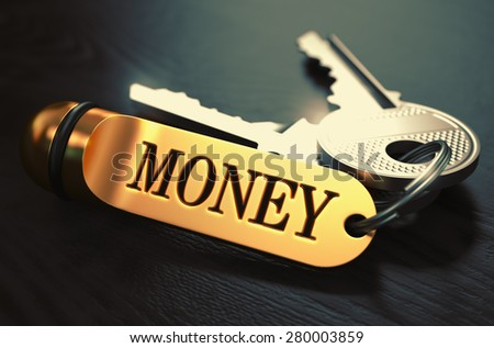 Money Concept. Keys with Golden Keyring on Black Wooden Table. Closeup View, Selective Focus, 3D Render. Toned Image. - stock photo