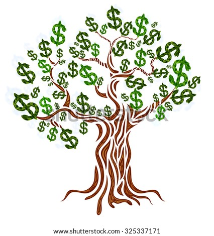 Money concept. Money tree isolated on white. Vector illustration.
