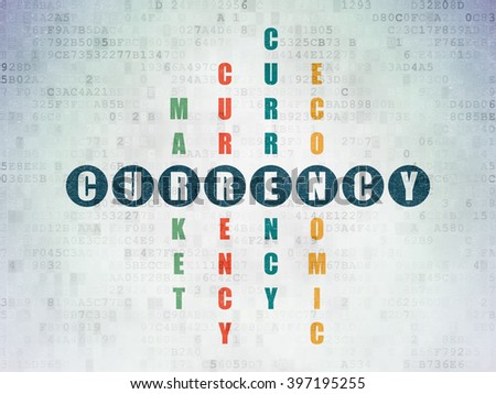 Money concept: Painted blue word Currency in solving Crossword Puzzle on Digital Paper background - stock photo