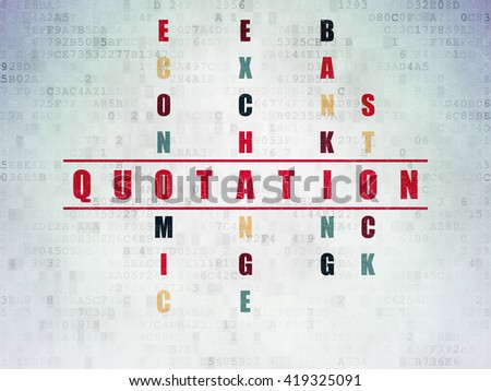 Money concept: Painted red word Quotation in solving Crossword Puzzle on Digital Data Paper background - stock photo