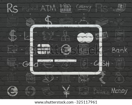 Money concept: Painted white Credit Card icon on Black Brick wall background with Scheme Of Hand Drawn Finance Icons