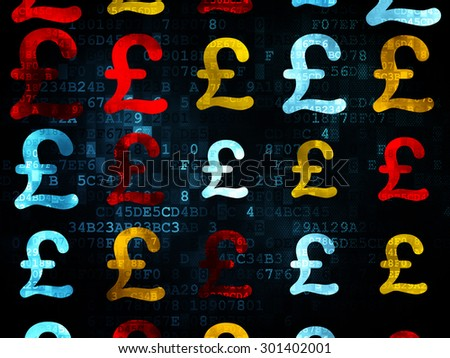 Money concept: Pixelated multicolor Pound icons on Digital background, 3d render - stock photo