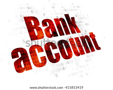 Money concept: Pixelated red text Bank Account on Digital background