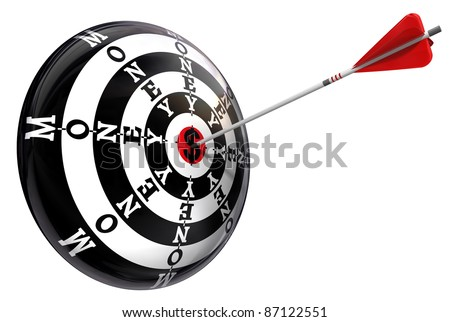 money concept target with dollar symbol isolated on white background