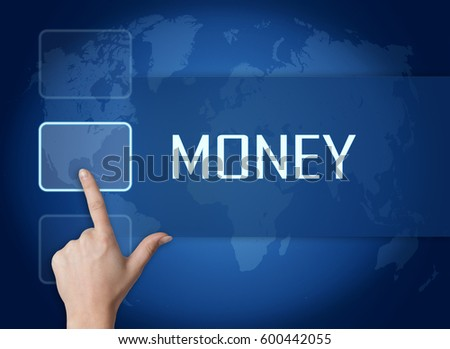 Money concept with interface and world map on blue background