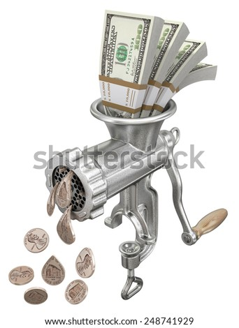 Money concept with meat grinder - stock photo