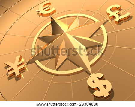 Money concept  with symbols of Dollar,  Euro, Pound,  and Yen