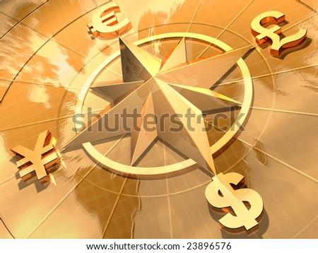Money concept  with symbols of Dollar,  Euro, Pound,  and Yen - stock photo
