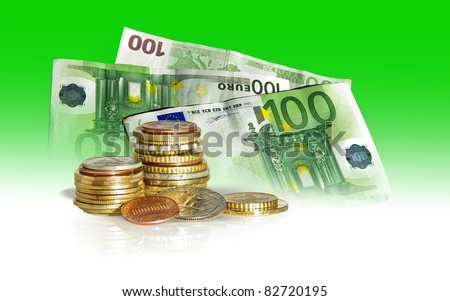 Money concept - world currency, dollars and euros on a green background. Stack of coins - American and European coins pile with some of the wold money for banking operations. - stock photo