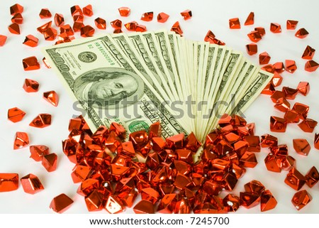 money concepts. dollars and red decoration