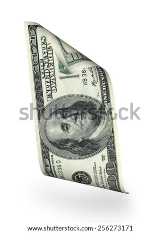 Money concepts. One hundred dollar bill falls - stock photo