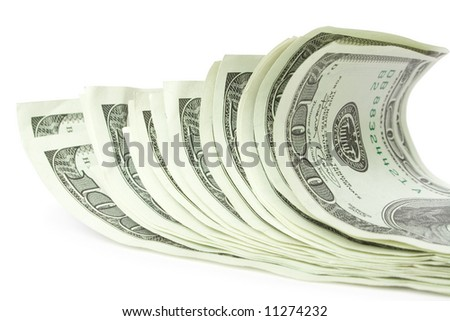 money concepts. sheaf of dollars - stock photo