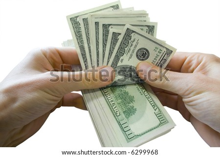 Money concepts. Sheaf of dollars and hands