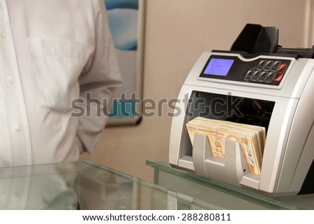 money counting machine - stock photo