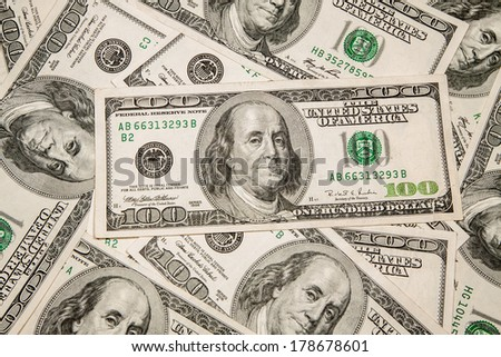 Money Currency Dollar - $ 100 as background - stock photo