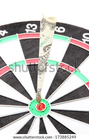 Money dart and target close up. Concept of success. - stock photo