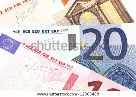 Money - Details Of 10, 20 And 50 Euro Notes, Laid Out As Fan - stock photo