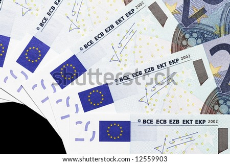 Money - Details Of 20 Euro Notes Laid Out As Fan - stock photo