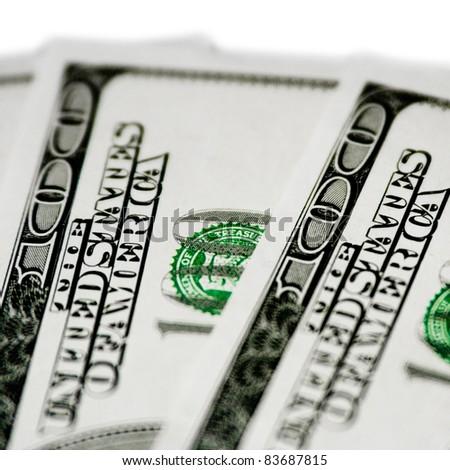 Money. 100 dollar bills. - stock photo