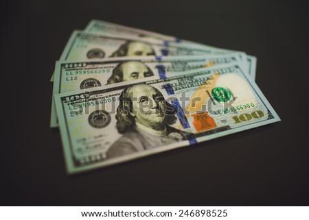 Money $100 dollar  bills  banknote - stock photo