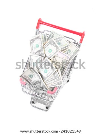 Money Dollar Cash Banknote in Trolley Shopping Cart on White Background - stock photo