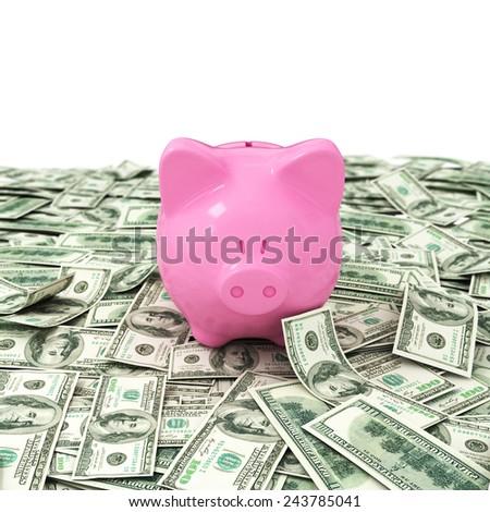 Money dollar dollars business money box pig credit bank savings - stock photo