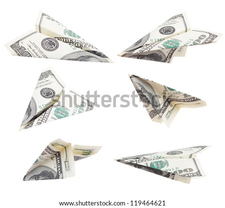 money dollars airplane fly on isolated white background / work path - stock photo