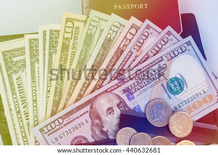 Money dollars, Euros with passport for travel trip and isolated on white background. - stock photo