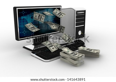 money dollars from computor isolated on white background