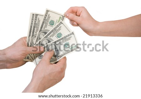 money dollars in the hands on white background