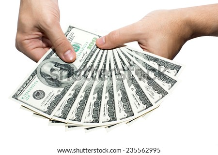 Money. Dollars. Money in hands - stock photo