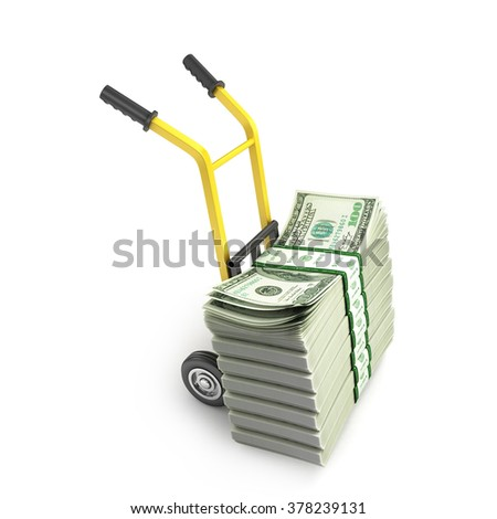 Money dollars on the hand truck isolated on white