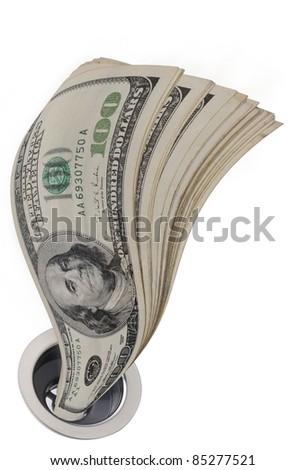 Money Down the Drain. - stock photo