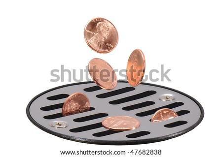 money down the drain macro - stock photo