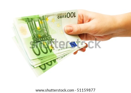 money - 100 eupo banknotes in female hand, isolated on white background - stock photo