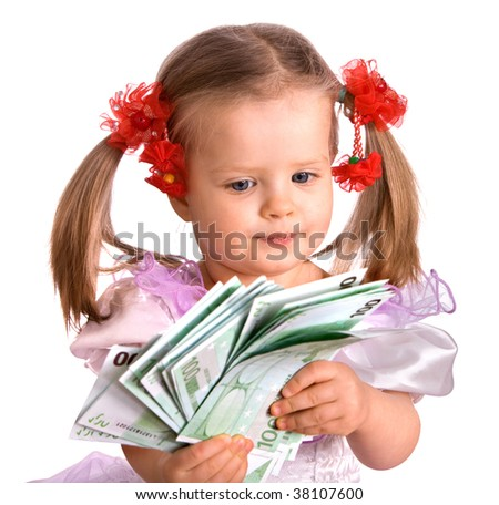 Money euro and child girl in dress. Isolated. - stock photo