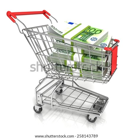 Money, euro cash banknote, in trolley shopping cart. 3D rendering isolated on white background - stock photo