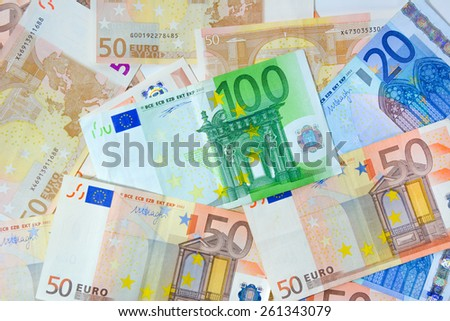 Money - Euro currency (EUR) bills as background - stock photo