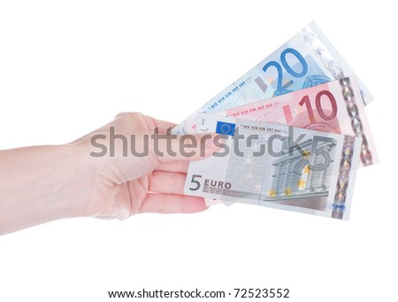 Money (Euro) in a hand isolated - stock photo