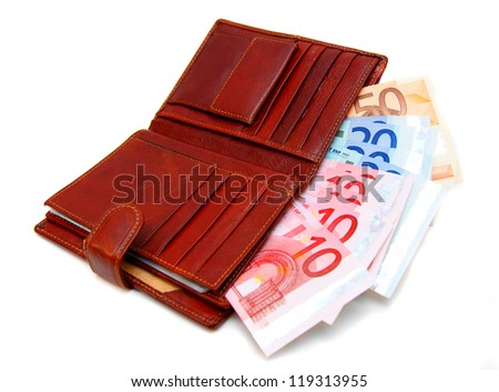Money (euro) in a purse. On a white background. - stock photo