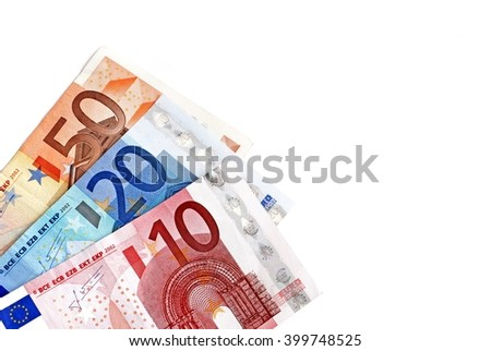 Money.  Euro money coins  banknotes. Euro money. Euro money on white background. Euro money isolated on white. Euro money.  - stock photo