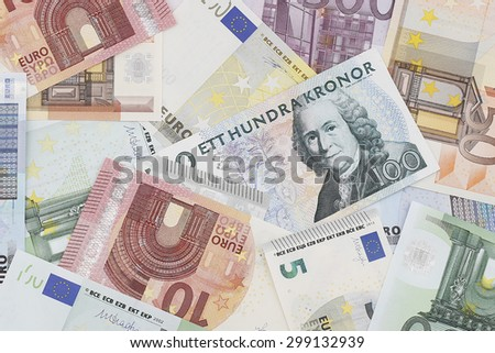 Money: European Currency & Danish Currency - stock photo