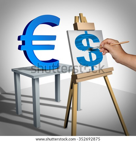 Money exchange and currency conversion financial business concept as a three dimensional euro sign being painted on a canvas as a dollar value rating icon and a finance symbol for monetary trading. - stock photo