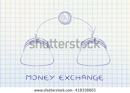 money exchange: coin flying from one purse to another, concept of paying services or money transfers - stock photo