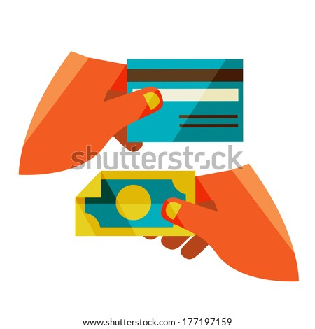 money exchange. Flat design modern illustration stylish colors of hand holding a business card and hand holding a coin - stock photo