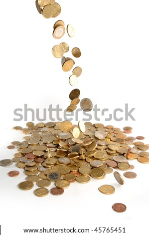 Money. Falling coins. - stock photo