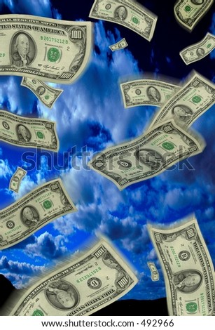 Money falling from sky