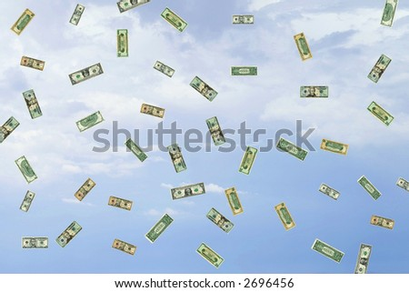 Money falling from the sky. - stock photo