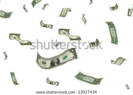 money falling from the sky over a white background. - stock photo